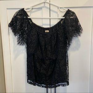 Hollister Black Lace Off-the-Shoulder Blouse Shirt